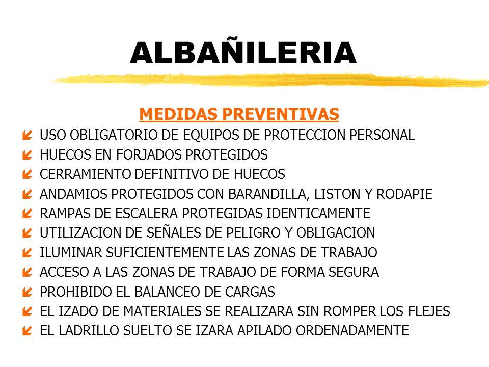 ALBAÑILERIA MEDIDAS PREVENTIVAS íUSO OBLIGATORIO DE EQUIPOS DE PROTECCION PERSONAL íHUECOS EN FORJADOS PROTEGIDOS íCERRAMIENTO DEFINITIVO DE HUECOS íA