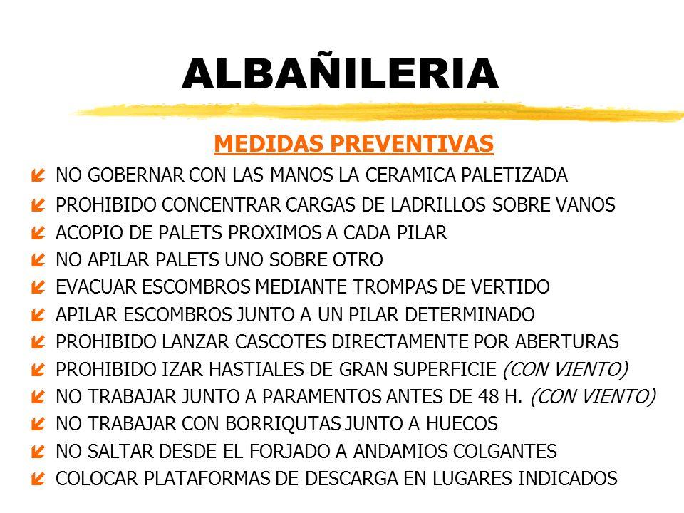 ALBAÑILERIA MEDIDAS PREVENTIVAS íNO GOBERNAR CON LAS MANOS LA CERAMICA PALETIZADA íPROHIBIDO CONCENTRAR CARGAS DE LADRILLOS SOBRE VANOS íACOPIO DE PAL