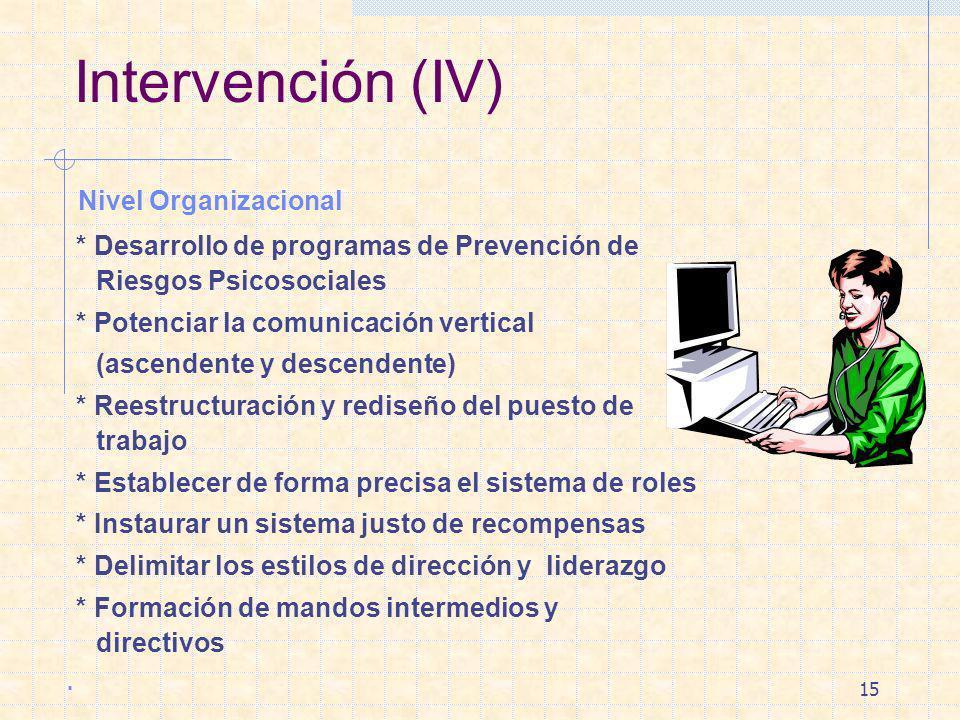 15 Intervención (IV) Nivel Organizacional * Desarrollo de programas de Prevención de Riesgos Psicosociales * Potenciar la comunicación vertical (ascen