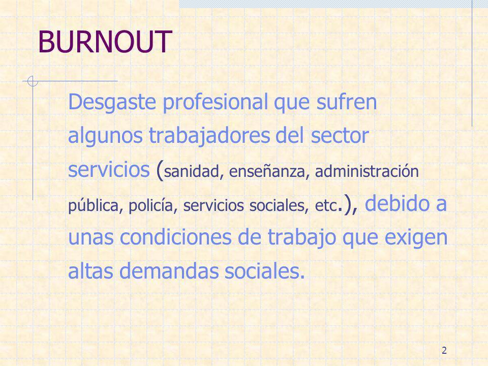 2 BURNOUT Desgaste profesional que sufren algunos trabajadores del sector servicios ( sanidad, enseñanza, administración pública, policía, servicios s