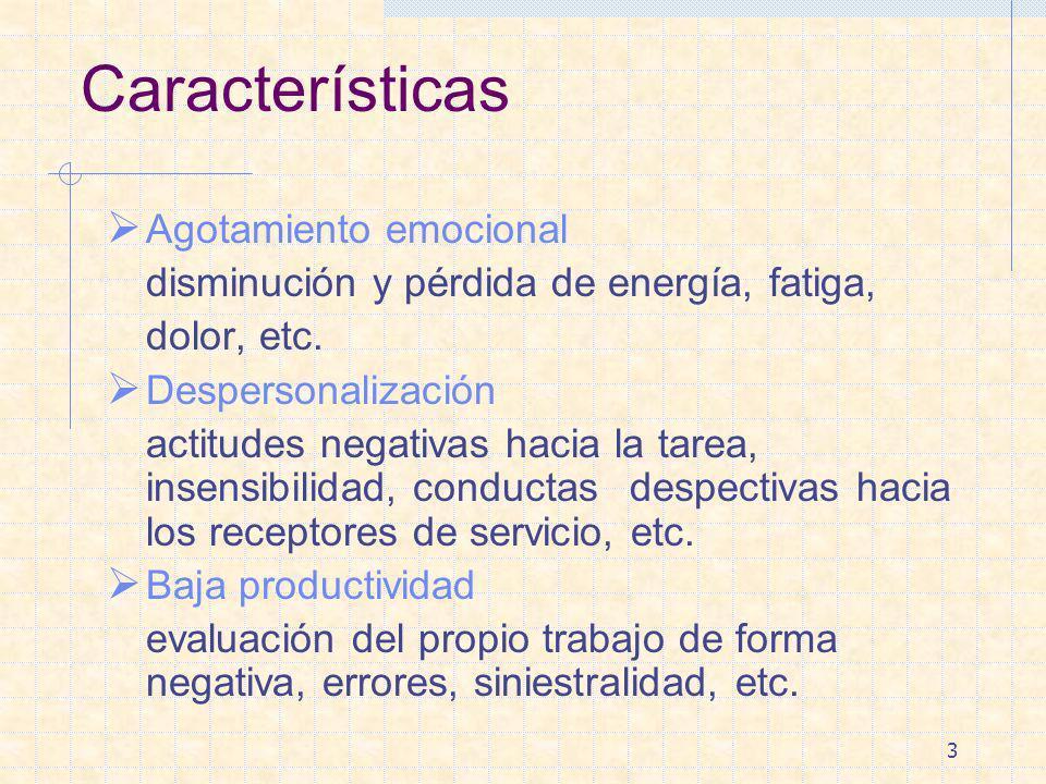 3 Características Agotamiento emocional disminución y pérdida de energía, fatiga, dolor, etc. Despersonalización actitudes negativas hacia la tarea, i