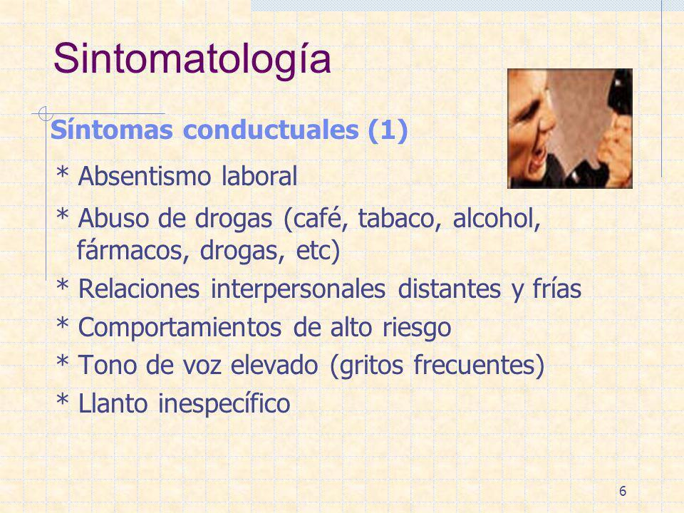 6 Sintomatología Síntomas conductuales (1) * Absentismo laboral * Abuso de drogas (café, tabaco, alcohol, fármacos, drogas, etc) * Relaciones interper