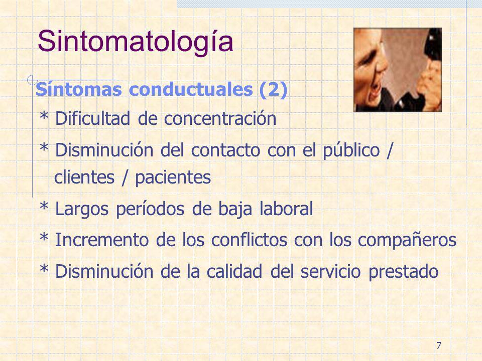 7 Sintomatología Síntomas conductuales (2) * Dificultad de concentración * Disminución del contacto con el público / clientes / pacientes * Largos per