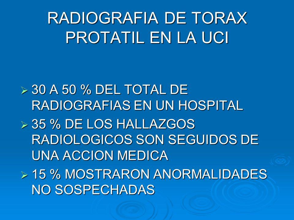 RADIOGRAFIA DE TORAX PROTATIL EN LA UCI 30 A 50 % DEL TOTAL DE RADIOGRAFIAS EN UN HOSPITAL 30 A 50 % DEL TOTAL DE RADIOGRAFIAS EN UN HOSPITAL 35 % DE