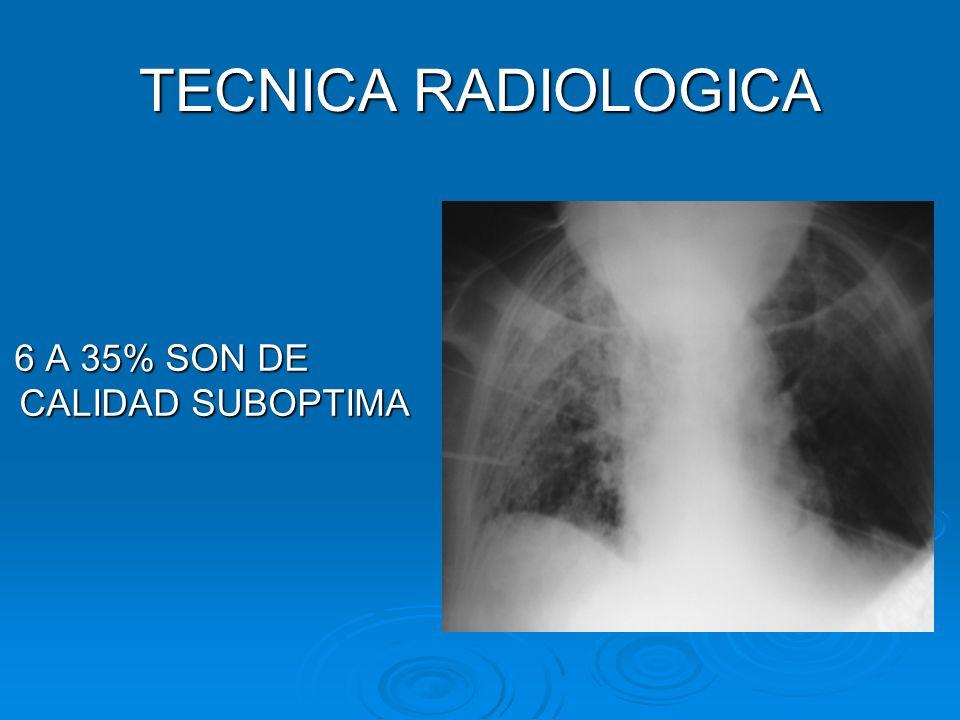 TECNICA RADIOLOGICA 6 A 35% SON DE CALIDAD SUBOPTIMA 6 A 35% SON DE CALIDAD SUBOPTIMA