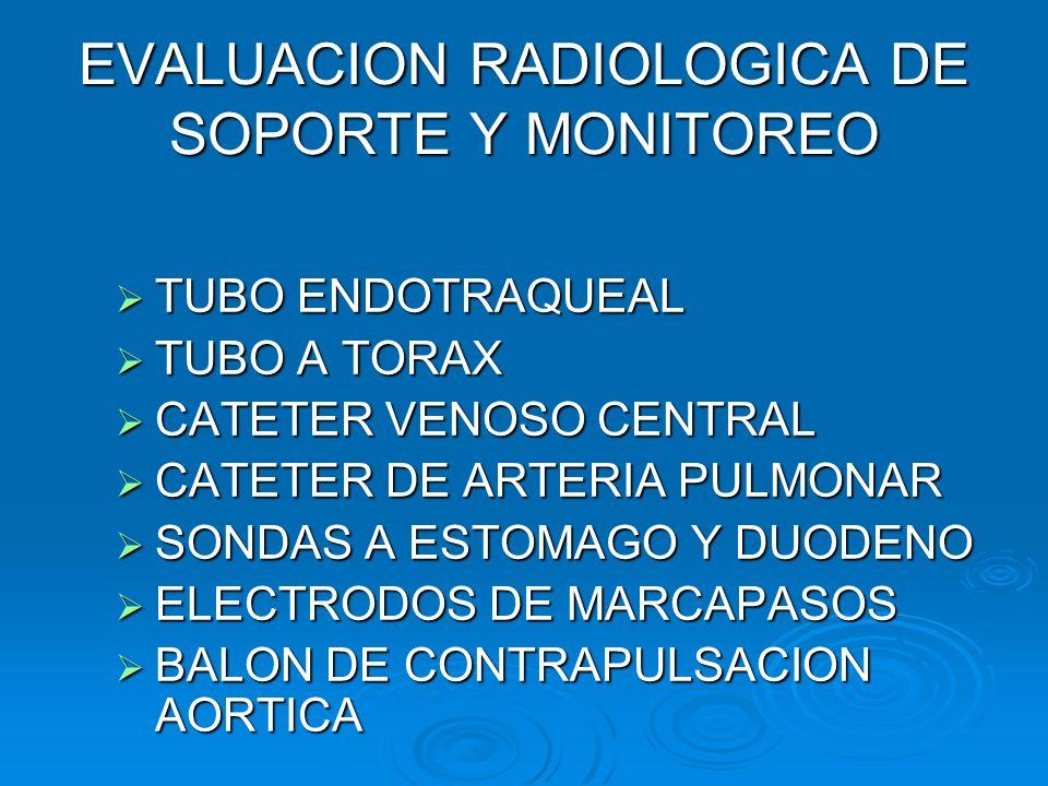 EVALUACION RADIOLOGICA DE SOPORTE Y MONITOREO TUBO ENDOTRAQUEAL TUBO ENDOTRAQUEAL TUBO A TORAX TUBO A TORAX CATETER VENOSO CENTRAL CATETER VENOSO CENT