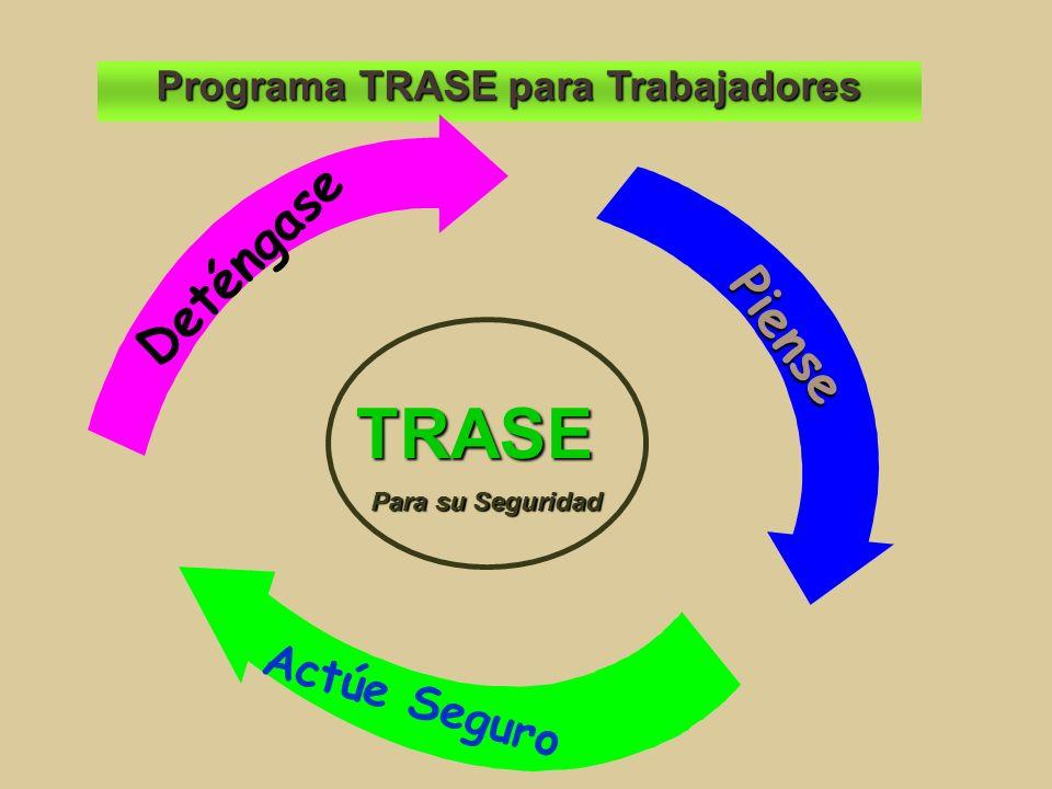 Programa TRASE para Trabajadores Deténgase Piense Actúe Seguro TRASE Para su Seguridad