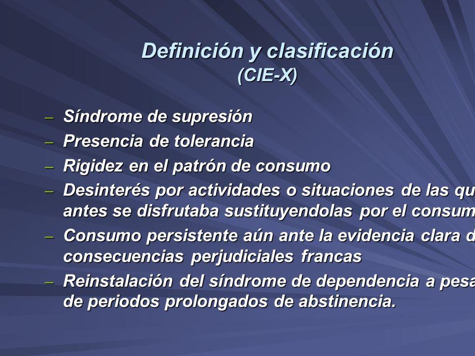 Definición y clasificación (CIE-X) – Síndrome de supresión – Presencia de tolerancia – Rigidez en el patrón de consumo – Desinterés por actividades o