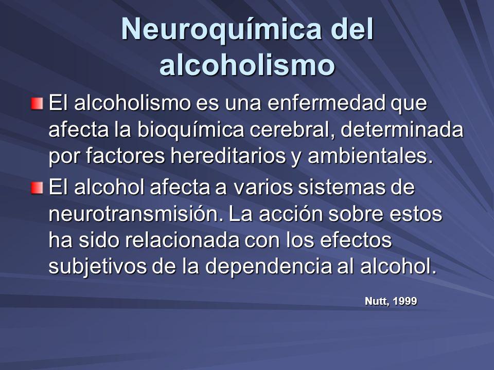 Neuroquímica del alcoholismo Sistema gabaérgico.- Efecto sedativo y ansiolítico, mediado por la activación del receptor gaba-a.