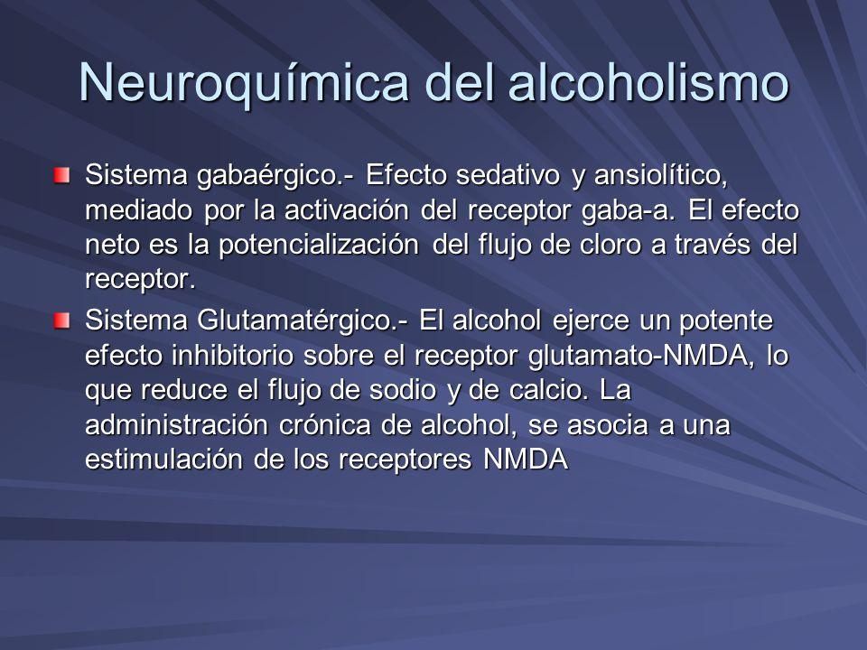 Neuroquímica del alcoholismo Sistema dopaminérgico.- A través de sus efectos iniciales sobre gaba y glutamato el alcohol influye en otros neurotransmisores, siendo uno de los más importantes la dopamina.