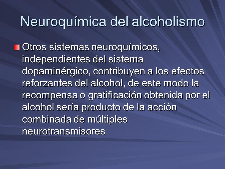 Neuroquímica del alcoholismo Sistema serotoninérgico.- El incremento de la disponibilidad sináptica de serotonina, mediante la administración de precursores (5-hidroxitriptofano), de bloqueadores de la recaptura y la inyección central de serotonina, reducen el consumo de alcohol.