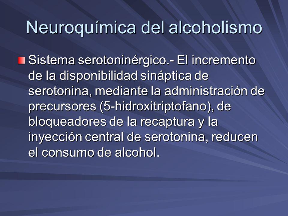 Neuroquímica del alcoholismo Sistema serotoninérgico.- El incremento de la disponibilidad sináptica de serotonina, mediante la administración de precu