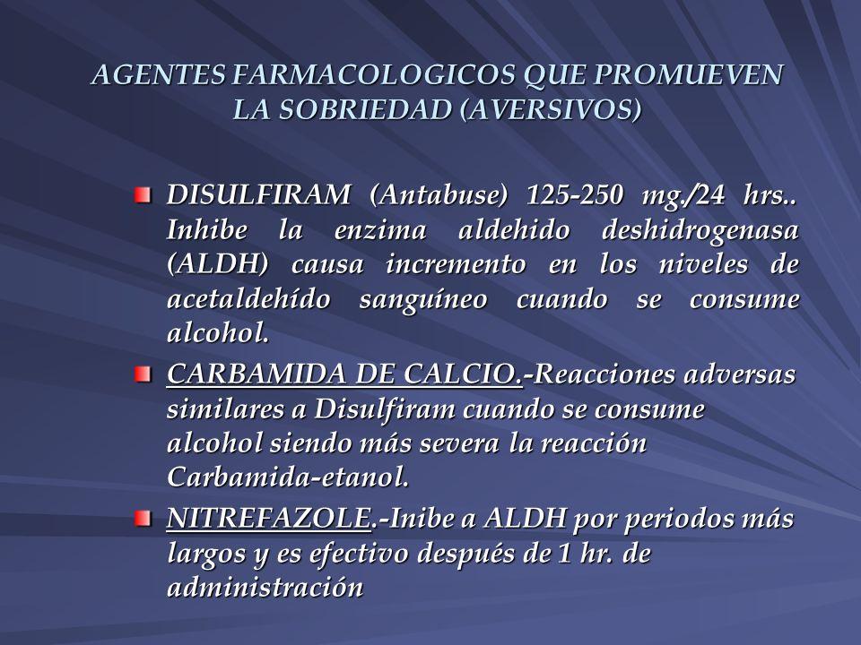 AGENTES FARMACOLOGICOS QUE PROMUEVEN LA SOBRIEDAD (AVERSIVOS) DISULFIRAM (Antabuse) 125-250 mg./24 hrs.. Inhibe la enzima aldehido deshidrogenasa (ALD
