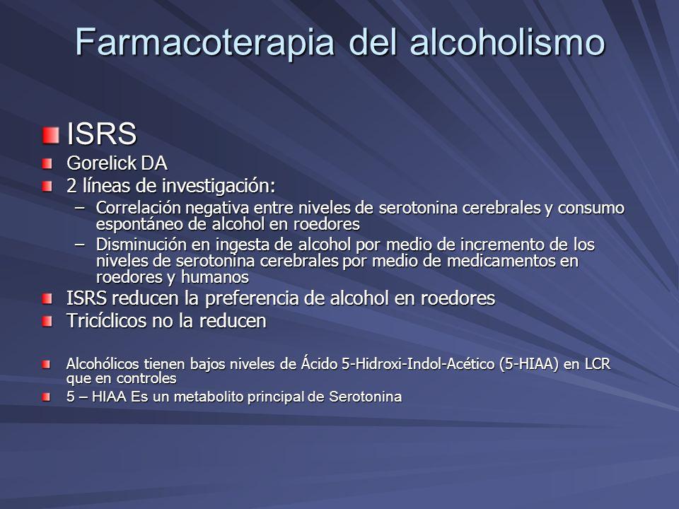Farmacoterapia del alcoholismo ISRS Gorelick DA 2 líneas de investigación: –Correlación negativa entre niveles de serotonina cerebrales y consumo espo