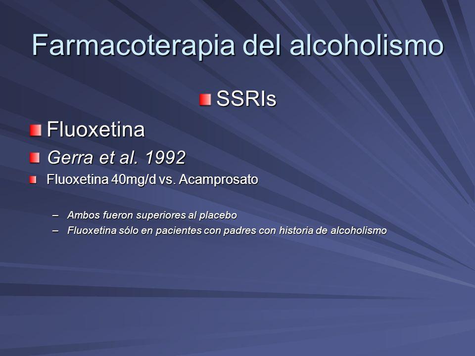 Farmacoterapia del alcoholismo SSRIsFluoxetina Gerra et al. 1992 Fluoxetina 40mg/d vs. Acamprosato –Ambos fueron superiores al placebo –Fluoxetina sól