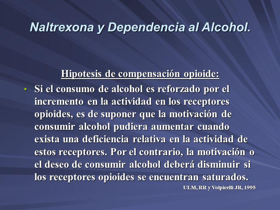 Naltrexona y Dependencia al Alcohol. Hipotesis de compensación opioide: Si el consumo de alcohol es reforzado por el incremento en la actividad en los