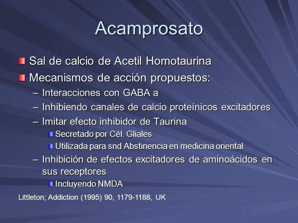 Acamprosato Sal de calcio de Acetil Homotaurina Mecanismos de acción propuestos: –Interacciones con GABA a –Inhibiendo canales de calcio proteínicos e