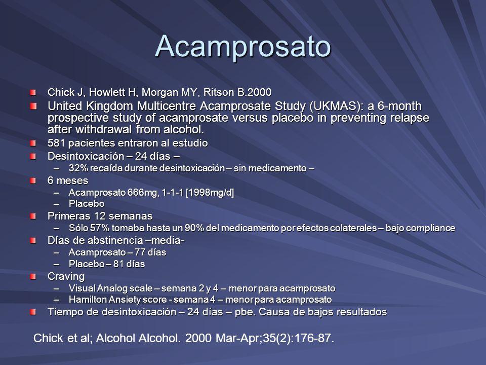 Acamprosato Chick J, Howlett H, Morgan MY, Ritson B.2000 United Kingdom Multicentre Acamprosate Study (UKMAS): a 6-month prospective study of acampros