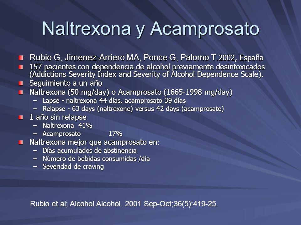 Naltrexona y Acamprosato Rubio G, Jimenez-Arriero MA, Ponce G, Palomo T. 2002, España 157 pacientes con dependencia de alcohol previamente desintoxica