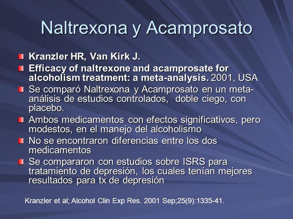 Naltrexona y Acamprosato Mason BJ, Goodman AM, Dixon RM, Hameed MH, Hulot T, Wesnes K, Hunter JA, Boyeson MG.