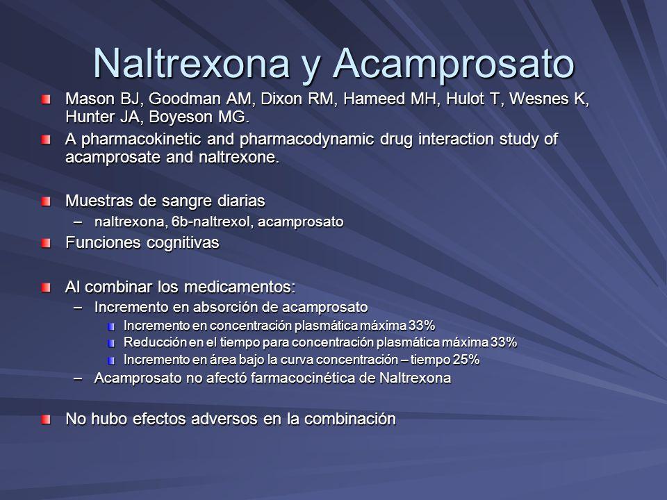 Naltrexona y Acamprosato Mason BJ, Goodman AM, Dixon RM, Hameed MH, Hulot T, Wesnes K, Hunter JA, Boyeson MG. A pharmacokinetic and pharmacodynamic dr