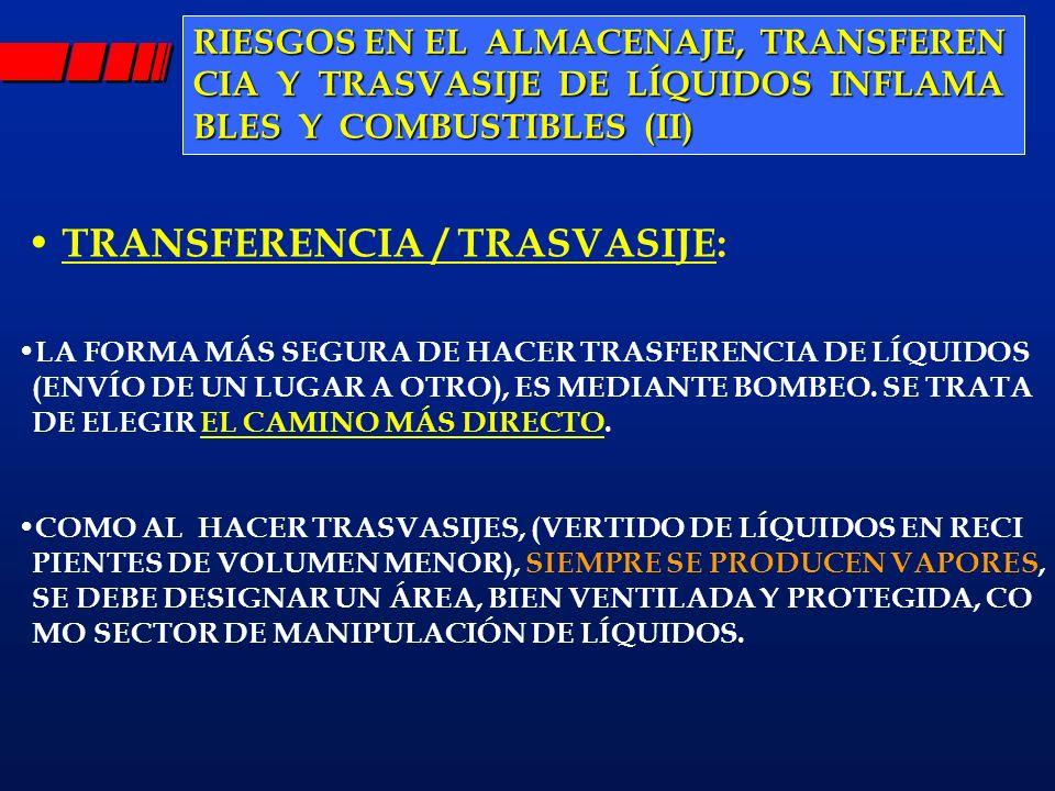 TRANSFERENCIA / TRASVASIJE: LA FORMA MÁS SEGURA DE HACER TRASFERENCIA DE LÍQUIDOS (ENVÍO DE UN LUGAR A OTRO), ES MEDIANTE BOMBEO. SE TRATA DE ELEGIR E