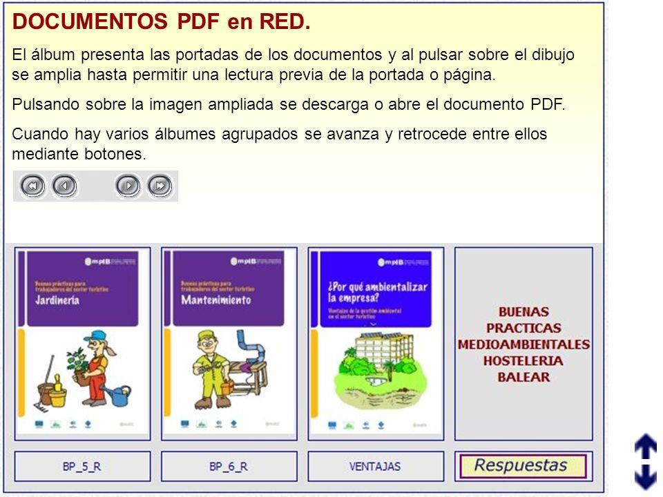 DOCUMENTOS PDF en RED. El álbum presenta las portadas de los documentos y al pulsar sobre el dibujo se amplia hasta permitir una lectura previa de la