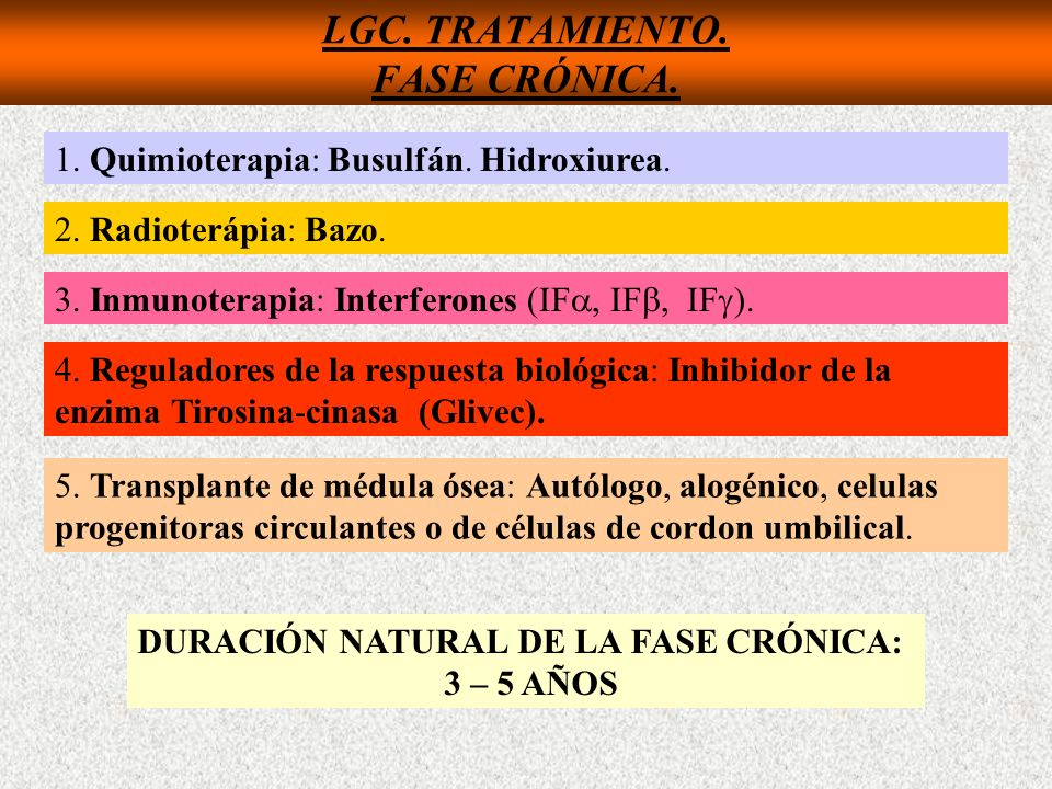 LGC. TRATAMIENTO. FASE CRÓNICA. 1. Quimioterapia: Busulfán. Hidroxiurea. 2. Radioterápia: Bazo. 3. Inmunoterapia: Interferones (IF, IF, IF ). 4. Regul