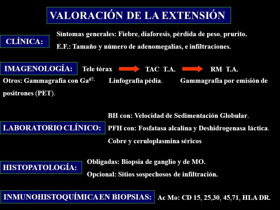 CLÍNICA: Síntomas generales: Fiebre, diaforesis, pérdida de peso, prurito. E.F.: Tamaño y número de adenomegalias, e infiltraciones. IMAGENOLOGÍA: Tel