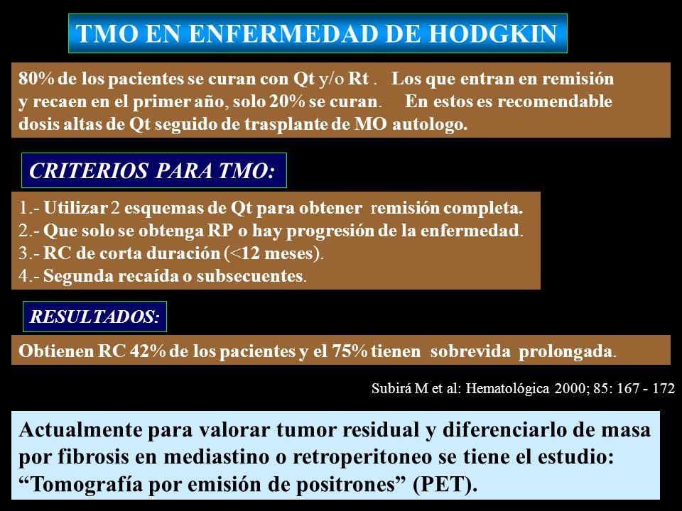 TMO EN ENFERMEDAD DE HODGKIN 80% de los pacientes se curan con Qt y/o Rt. Los que entran en remisión y recaen en el primer año, solo 20% se curan. En