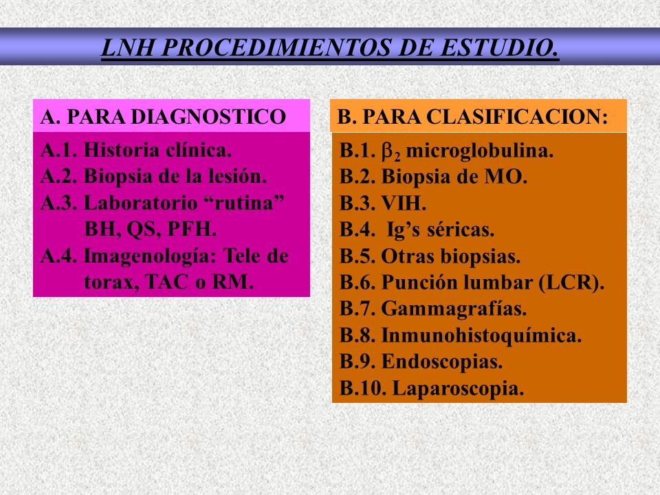 LNH PROCEDIMIENTOS DE ESTUDIO. B. PARA CLASIFICACION: B.1. 2 microglobulina. B.2. Biopsia de MO. B.3. VIH. B.4. Igs séricas. B.5. Otras biopsias. B.6.