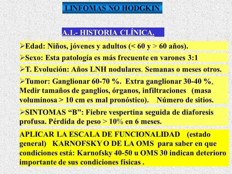 A.1.- HISTORIA CLÍNICA. E dad: Niños, jóvenes y adultos (< 60 y > 60 años). S exo: Esta patología es más frecuente en varones 3:1 T. Evolución: Años L