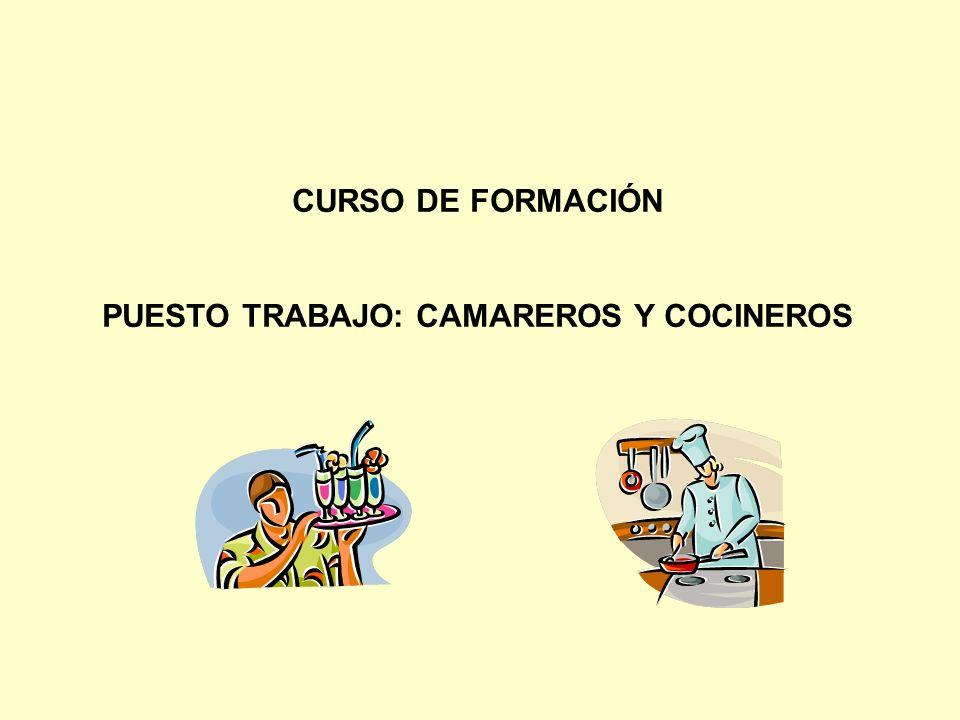CURSO DE FORMACIÓN PUESTO TRABAJO: CAMAREROS Y COCINEROS