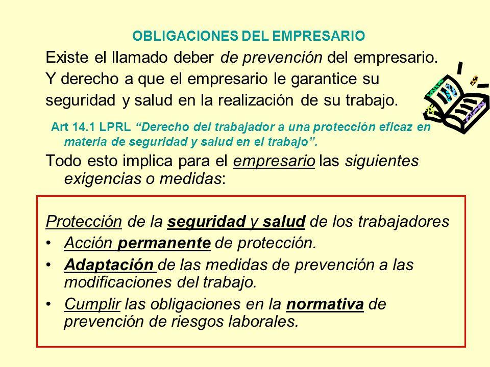 OBLIGACIONES DEL EMPRESARIO Existe el llamado deber de prevención del empresario. Y derecho a que el empresario le garantice su seguridad y salud en l
