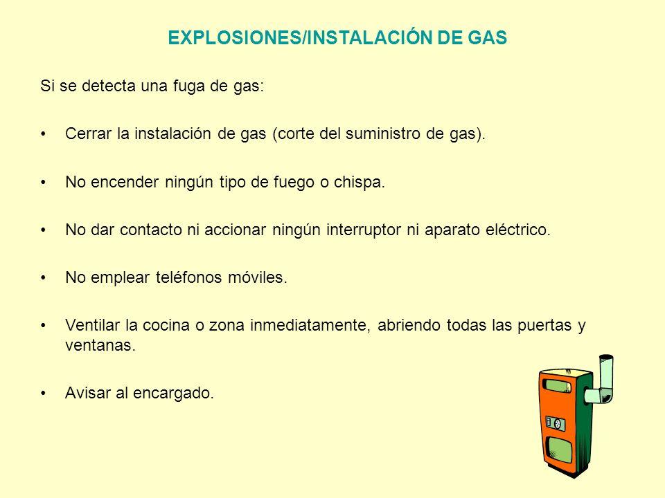EXPLOSIONES/INSTALACIÓN DE GAS Si se detecta una fuga de gas: Cerrar la instalación de gas (corte del suministro de gas). No encender ningún tipo de f