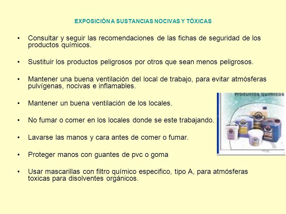 EXPOSICIÓN A SUSTANCIAS NOCIVAS Y TÓXICAS Consultar y seguir las recomendaciones de las fichas de seguridad de los productos químicos. Sustituir los p