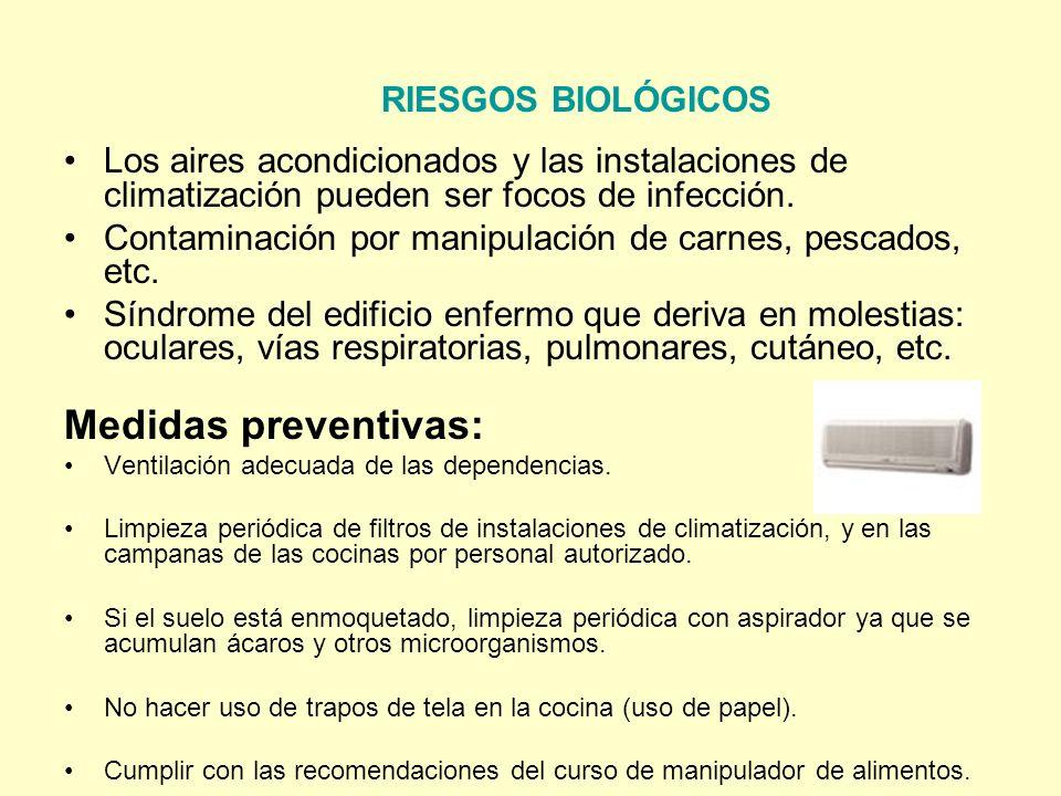 RIESGOS BIOLÓGICOS Los aires acondicionados y las instalaciones de climatización pueden ser focos de infección. Contaminación por manipulación de carn
