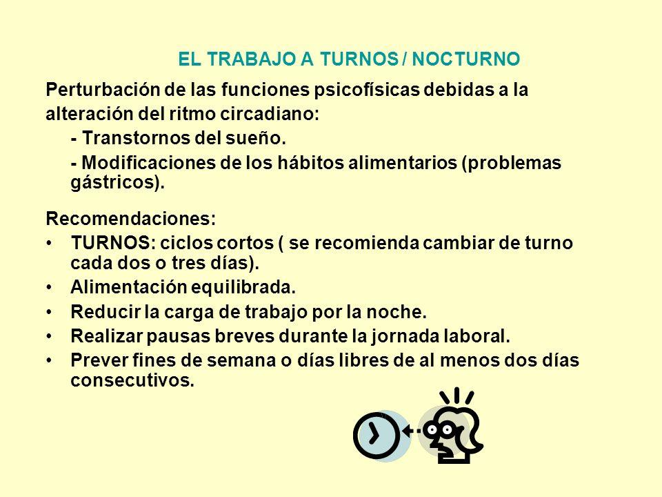EL TRABAJO A TURNOS / NOCTURNO Perturbación de las funciones psicofísicas debidas a la alteración del ritmo circadiano: - Transtornos del sueño. - Mod