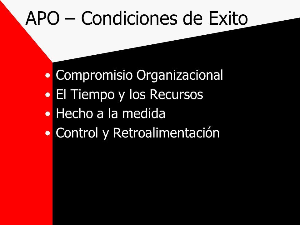 APO – Condiciones de Exito Compromisio Organizacional El Tiempo y los Recursos Hecho a la medida Control y Retroalimentación