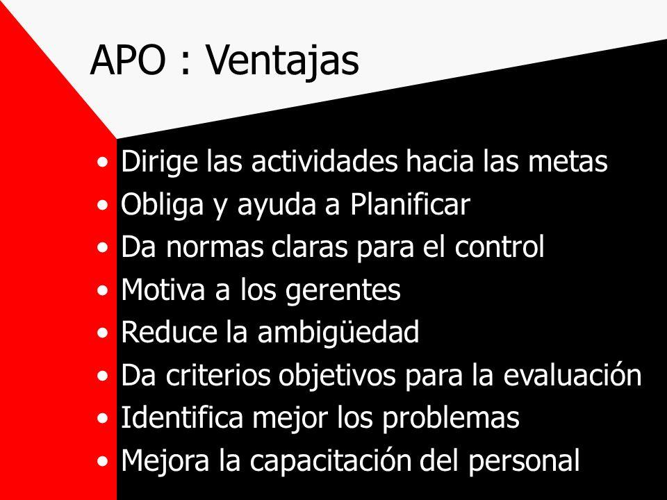 APO : Ventajas Dirige las actividades hacia las metas Obliga y ayuda a Planificar Da normas claras para el control Motiva a los gerentes Reduce la amb