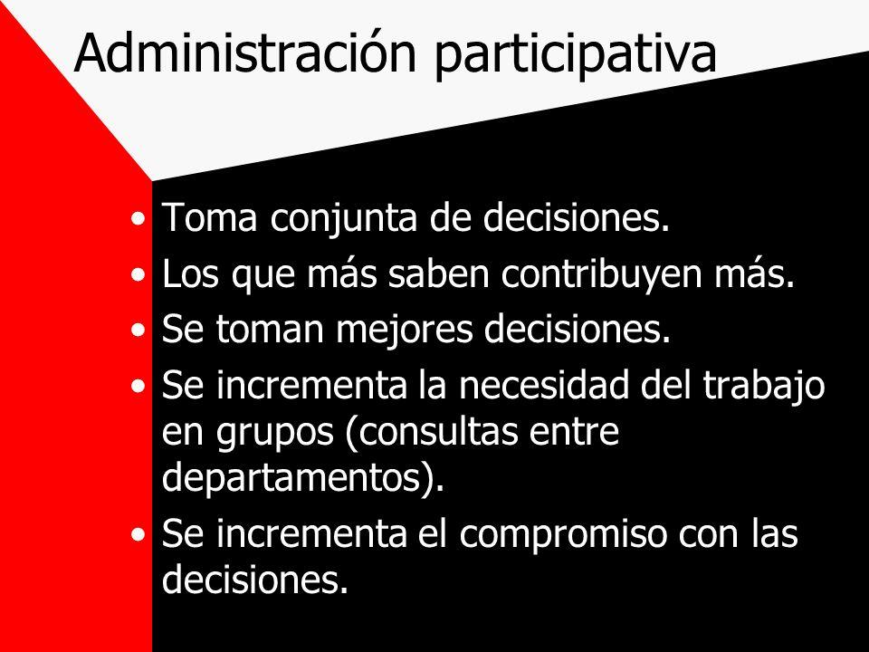 Administración participativa Toma conjunta de decisiones. Los que más saben contribuyen más. Se toman mejores decisiones. Se incrementa la necesidad d