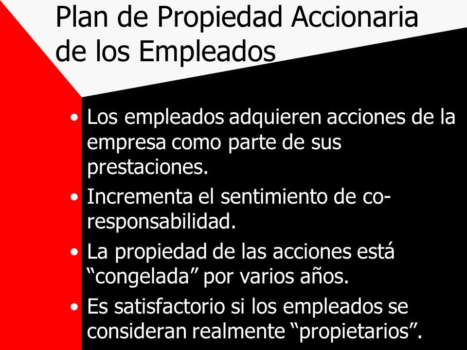 Plan de Propiedad Accionaria de los Empleados Los empleados adquieren acciones de la empresa como parte de sus prestaciones. Incrementa el sentimiento