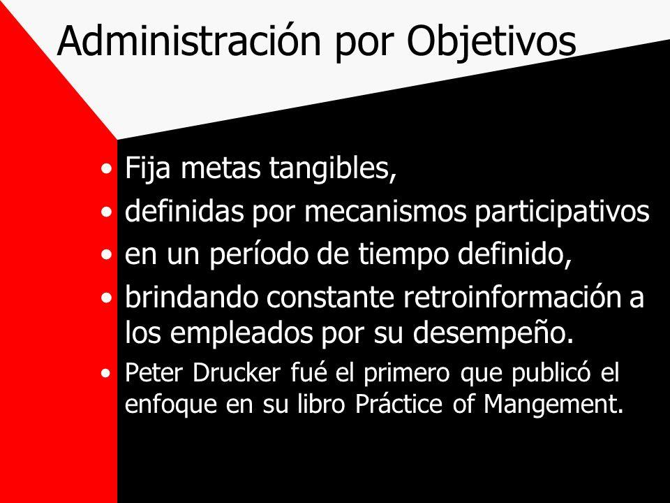 Administración por Objetivos Fija metas tangibles, definidas por mecanismos participativos en un período de tiempo definido, brindando constante retro