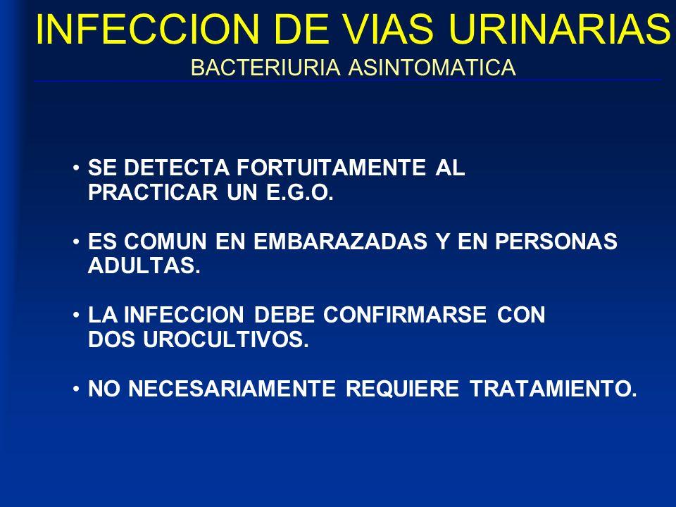 INFECCION DE VIAS URINARIAS BACTERIURIA ASINTOMATICA SE DETECTA FORTUITAMENTE AL PRACTICAR UN E.G.O. ES COMUN EN EMBARAZADAS Y EN PERSONAS ADULTAS. LA