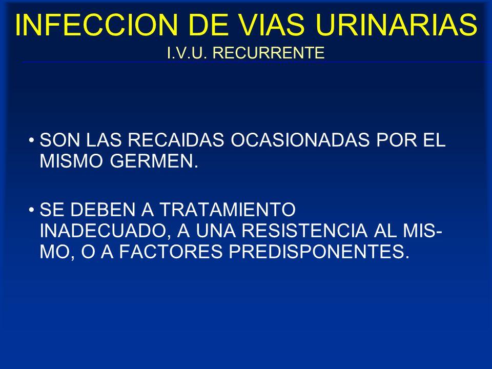 INFECCION DE VIAS URINARIAS I.V.U. RECURRENTE SON LAS RECAIDAS OCASIONADAS POR EL MISMO GERMEN. SE DEBEN A TRATAMIENTO INADECUADO, A UNA RESISTENCIA A
