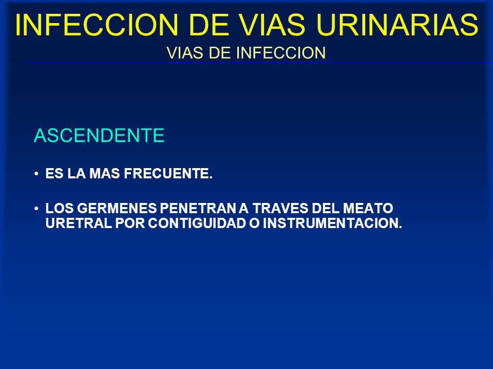 INFECCION DE VIAS URINARIAS VIAS DE INFECCION ASCENDENTE ES LA MAS FRECUENTE. LOS GERMENES PENETRAN A TRAVES DEL MEATO URETRAL POR CONTIGUIDAD O INSTR