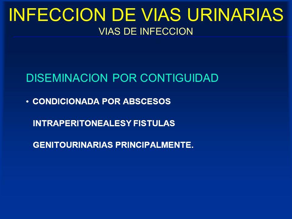 INFECCION DE VIAS URINARIAS VIAS DE INFECCION DISEMINACION POR CONTIGUIDAD CONDICIONADA POR ABSCESOS INTRAPERITONEALESY FISTULAS GENITOURINARIAS PRINC