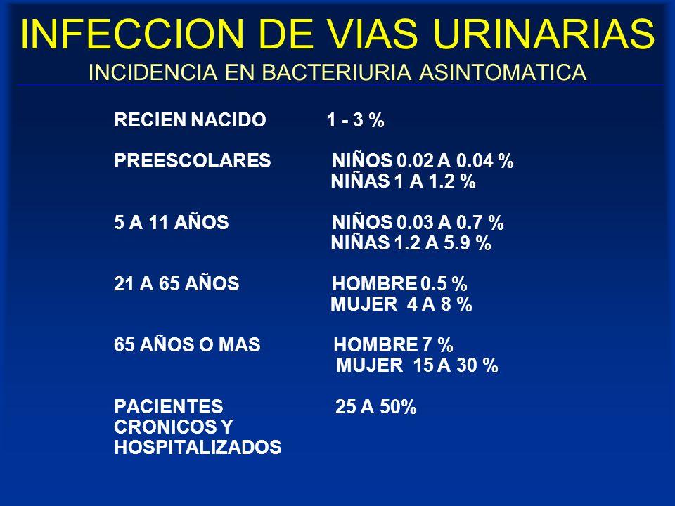 INFECCION DE VIAS URINARIAS INCIDENCIA EN BACTERIURIA ASINTOMATICA RECIEN NACIDO 1 - 3 % PREESCOLARES NIÑOS 0.02 A 0.04 % NIÑAS 1 A 1.2 % 5 A 11 AÑOS