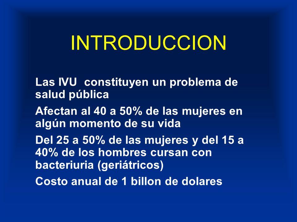 INFECCION DE VIAS URINARIAS Las IVU son más comunes en la mujer que en el hombre Su prevalencia se incrementa con la edad Comunmente causadas por ascenso de los microrganísmos provenientes de las heces a travéz de la luz del tracto urinario