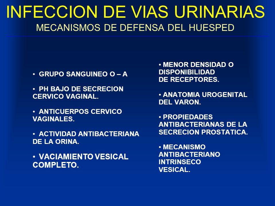 INFECCION DE VIAS URINARIAS MECANISMOS DE DEFENSA DEL HUESPED GRUPO SANGUINEO O – A PH BAJO DE SECRECION CERVICO VAGINAL. ANTICUERPOS CERVICO VAGINALE